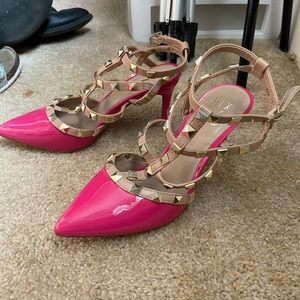 Size 6 pink studded heels (never worn)